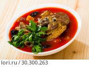 Купить «Savory tomato soup with mutton, dried plums and apricots», фото № 30300263, снято 16 августа 2018 г. (c) Яков Филимонов / Фотобанк Лори
