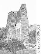 Купить «Maidens Tower. Fortress of the Old Sity Baku. Historical core of Azerbaijan Baku.», иллюстрация № 30306063 (c) Евгений Ткачёв / Фотобанк Лори