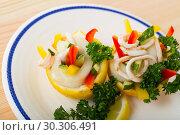 Купить «Salad with calamari and vegetables», фото № 30306491, снято 20 марта 2019 г. (c) Яков Филимонов / Фотобанк Лори