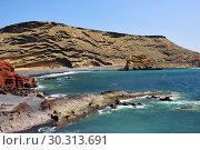 Купить «Lagoon El Golfo with the black beach. Lanzarote Island. Spain», фото № 30313691, снято 22 июня 2008 г. (c) Знаменский Олег / Фотобанк Лори