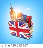 Купить «Trip to London, Great Britain.Vintage suiitcase with symbols of UK London, Big Ben tower and red booth. Travel and tourism concept.», фото № 30313767, снято 22 марта 2019 г. (c) Maksym Yemelyanov / Фотобанк Лори