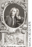 Alexander Pope, 1688 - 1744. English poet and satirist. From the 1813 edition of The Heads of Illustrious Persons of Great Britain, Engraved by Mr. Houbraken... Стоковое фото, фотограф Classic Vision / age Fotostock / Фотобанк Лори