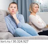 Купить «Adult daughter quarreled with her mother», фото № 30324927, снято 23 марта 2019 г. (c) Яков Филимонов / Фотобанк Лори