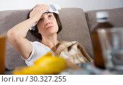 Купить «Woman suffering from headaches», фото № 30327255, снято 22 ноября 2018 г. (c) Яков Филимонов / Фотобанк Лори