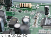 Купить «Electronic board with electronic components», фото № 30327447, снято 15 февраля 2019 г. (c) Владимир Белобаба / Фотобанк Лори