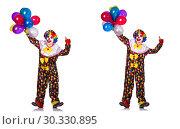 Купить «Funny male clown isolated on white», фото № 30330895, снято 23 марта 2019 г. (c) Elnur / Фотобанк Лори