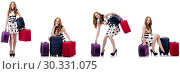 Купить «Beautiful woman in polka dot dress with suitcases isolated on wh», фото № 30331075, снято 25 февраля 2020 г. (c) Elnur / Фотобанк Лори