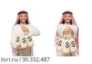 Купить «Arab businessman with sacks of money», фото № 30332487, снято 17 июня 2015 г. (c) Elnur / Фотобанк Лори