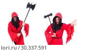 Купить «Executioner in red costume with axe on white», фото № 30337591, снято 23 января 2013 г. (c) Elnur / Фотобанк Лори