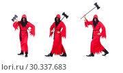 Купить «Executioner in red costume with axe on white», фото № 30337683, снято 23 января 2013 г. (c) Elnur / Фотобанк Лори