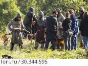 Купить «Extras and film crew take over a castle in Edinburgh for filming of 'Outlaw King' Featuring: Extras in costume Where: Edinburgh, United Kingdom When: 31 Aug 2017 Credit: WENN.com», фото № 30344595, снято 31 августа 2017 г. (c) age Fotostock / Фотобанк Лори