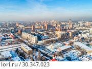 Купить «Aerial view of the modern city district. Winter, sunny day», фото № 30347023, снято 23 января 2019 г. (c) Андрей Радченко / Фотобанк Лори