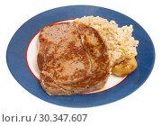 Купить «Barley porridge with frying beef at plate», фото № 30347607, снято 27 июня 2019 г. (c) Яков Филимонов / Фотобанк Лори