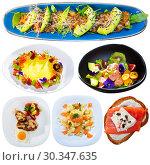 Купить «Assorted salmon dishes on a white background», фото № 30347635, снято 23 марта 2019 г. (c) Яков Филимонов / Фотобанк Лори