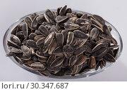 Купить «Top view of bowl with sunflower seeds», фото № 30347687, снято 20 марта 2019 г. (c) Яков Филимонов / Фотобанк Лори