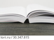 Купить «Close Up view of an open textbook with copy space», фото № 30347815, снято 18 июня 2018 г. (c) Kira_Yan / Фотобанк Лори