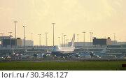 Купить «Boeing 747 cargo taxiing after landing», видеоролик № 30348127, снято 25 июля 2017 г. (c) Игорь Жоров / Фотобанк Лори