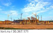 Купить «SAMARA, RUSSIA - April 2016: Construction of a modern stadium for the football world cup Cosmos Arena.», фото № 30367171, снято 1 июня 2016 г. (c) Акиньшин Владимир / Фотобанк Лори