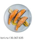Купить «Top view of grilled salmon with asparagus», фото № 30367635, снято 20 июля 2019 г. (c) Яков Филимонов / Фотобанк Лори