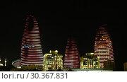 Купить «Night view of Baku Flame Towers, Azerbaijan», видеоролик № 30367831, снято 17 марта 2019 г. (c) Serg Zastavkin / Фотобанк Лори