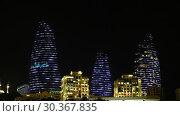 Купить «Night view of Baku Flame Towers, Azerbaijan», видеоролик № 30367835, снято 17 марта 2019 г. (c) Serg Zastavkin / Фотобанк Лори
