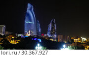 Купить «Night view of Baku Flame Towers, Azerbaijan», видеоролик № 30367927, снято 19 марта 2019 г. (c) Serg Zastavkin / Фотобанк Лори