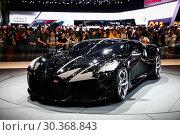 Купить «Bugatti La Voiture Noire», фото № 30368843, снято 10 марта 2019 г. (c) Art Konovalov / Фотобанк Лори