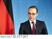 Купить «Berlin, Germany - Federal Foreign Minister Heiko Maas.», фото № 30377067, снято 7 марта 2019 г. (c) Caro Photoagency / Фотобанк Лори