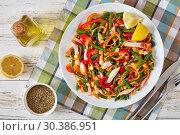 Купить «overhead view of mexican style healthy salad», фото № 30386951, снято 22 февраля 2019 г. (c) Oksana Zh / Фотобанк Лори