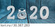 Купить «С новым годом. Цифры 2020 на синем фоне», фото № 30387283, снято 15 марта 2019 г. (c) Наталья Осипова / Фотобанк Лори