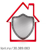 Купить «house and shield on white background. Isolated 3D illustration.», иллюстрация № 30389083 (c) Ильин Сергей / Фотобанк Лори