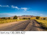 Купить «Красивый пейзаж в степях Казахстана. Дорога. Горы», фото № 30389427, снято 23 августа 2016 г. (c) Ольга Сейфутдинова / Фотобанк Лори
