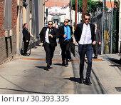 John Lithgow and Jay Baruchel arrive for appearances on 'Jimmy Kimmel... (2017 год). Редакционное фото, фотограф WENN.com / age Fotostock / Фотобанк Лори