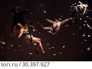 Купить «Volcano Theatre perform a segnment of their Fringe show suspended on high wires with feathers Featuring: Volcano Theatre Where: Edinburgh, United Kingdom When: 08 Aug 2017 Credit: Euan Cherry/WENN.com», фото № 30397927, снято 8 августа 2017 г. (c) age Fotostock / Фотобанк Лори