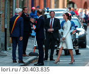 Купить «The Duke and Duchess of Cambridge, accompanied by the the King and Queen of Belgium, attend the Last Post Ceremony at the Menin Gate during Passchendaele...», фото № 30403835, снято 30 июля 2017 г. (c) age Fotostock / Фотобанк Лори