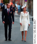Купить «The Duke and Duchess of Cambridge, accompanied by the the King and Queen of Belgium, attend the Last Post Ceremony at the Menin Gate during Passchendaele...», фото № 30403867, снято 30 июля 2017 г. (c) age Fotostock / Фотобанк Лори