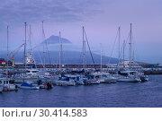 Вулкан Пику и яхты, Азоры, Португалия (2019 год). Редакционное фото, фотограф Ирина Яровая / Фотобанк Лори