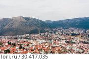 Mostar Panorama, Bosnia and Herzegovina (2018 год). Стоковое фото, фотограф Николай Коржов / Фотобанк Лори