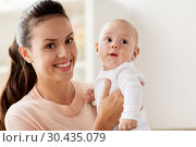 Купить «happy mother with little baby boy at home», фото № 30435079, снято 1 сентября 2017 г. (c) Syda Productions / Фотобанк Лори