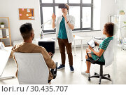 developers with virtual reality headset at office. Стоковое фото, фотограф Syda Productions / Фотобанк Лори