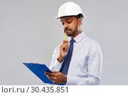 Купить «architect or businessman in helmet with clipboard», фото № 30435851, снято 12 января 2019 г. (c) Syda Productions / Фотобанк Лори