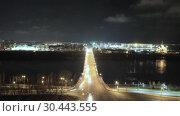 Купить «Night view of Nizhny Novgorod with Kanavinsky bridge and Alexander Nevsky Cathedral», видеоролик № 30443555, снято 25 марта 2019 г. (c) Mikhail Starodubov / Фотобанк Лори
