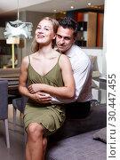 Купить «Romantic woman and man at home», фото № 30447455, снято 24 сентября 2018 г. (c) Яков Филимонов / Фотобанк Лори