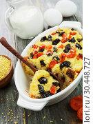 Купить «Millet casserole with dried fruits», фото № 30448727, снято 29 марта 2019 г. (c) Надежда Мишкова / Фотобанк Лори