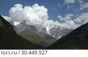 Купить «Time laps video of mount Shkhara on Greater Caucasus range. Ushguli, Svaneti, Georgia», видеоролик № 30449927, снято 2 марта 2019 г. (c) Serg Zastavkin / Фотобанк Лори