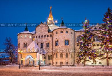 Здание Государственного банка зимней ночью building of the State Bank