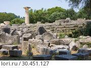 Купить «Building remains at ancient Olimpia archaeological site in Greece», фото № 30451127, снято 13 июня 2014 г. (c) Papoyan Irina / Фотобанк Лори