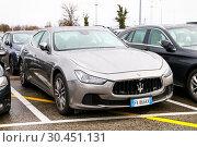 Купить «Maserati Ghibli», фото № 30451131, снято 11 марта 2019 г. (c) Art Konovalov / Фотобанк Лори