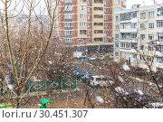 Купить «Первоапрельский снегопад в Подмосковье», фото № 30451307, снято 1 апреля 2019 г. (c) Владимир Сергеев / Фотобанк Лори