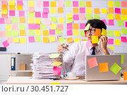 Купить «Young employee in conflicting priorities concept», фото № 30451727, снято 16 октября 2018 г. (c) Elnur / Фотобанк Лори